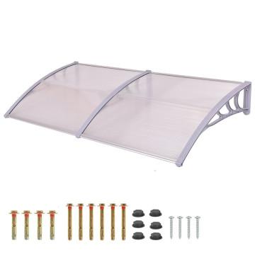 Műanyag előtető 240x90 cm, dupla, transzparens, fehér színű fali tartóelemekkel - Ingyenes szállítás