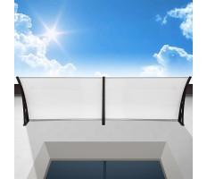 Műanyag előtető 240x90 cm, dupla, transzparens, fekete színű fali tartóelemekkel - Ingyenes szállítás