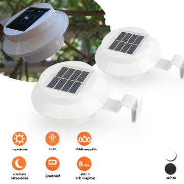 2 db kültéri ereszcsatornára szerelhető napelemes lámpa, fehér