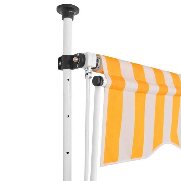 Feltekerhető napellenző, sárga-fehér csíkos, 200x120 cm-es