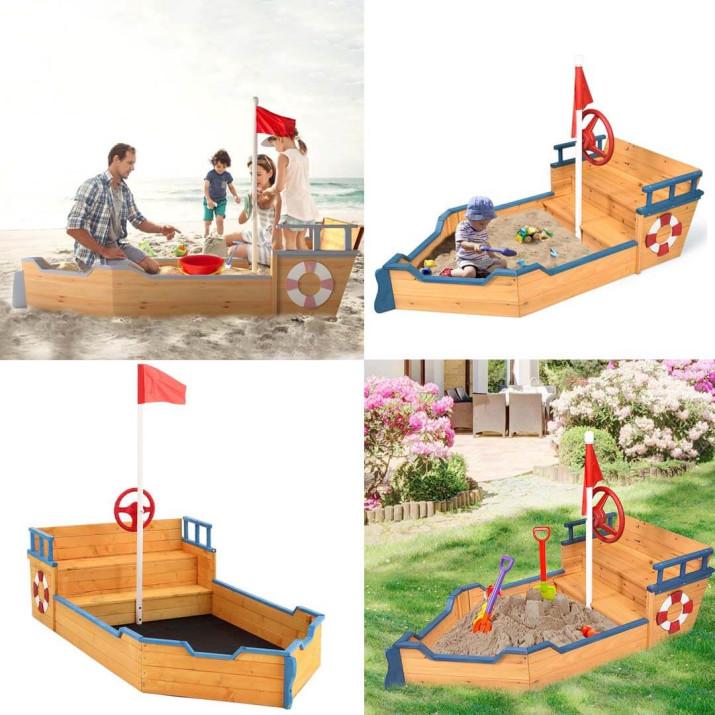 Kalózhajó formájú homokozó, kormánykerékkel, zászlóval