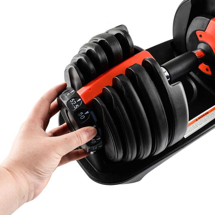 Egykezes súlyzó, 24 kg-os, 10 db levehető súllyal, tartó tálcával