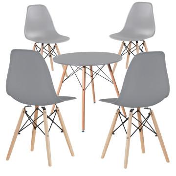 4 db modern étkezőszék asztallal, szürke - Ingyenes szállítás