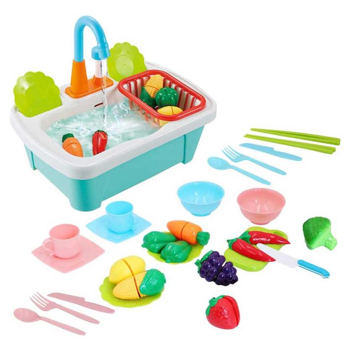 Játék mosogató, félbe vágható játék gyümölcsökkel - zöldségekkel, élethű tartozékokkal