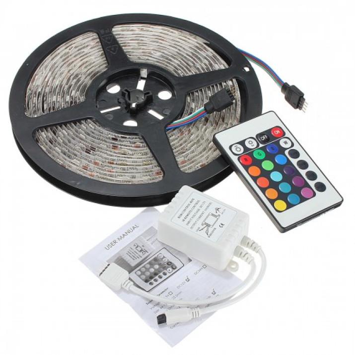RGB5050 programozható LED szalag távirányítóval - 5m, állítható fényerő és szín, vízálló