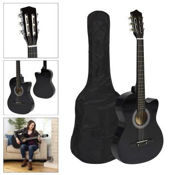 Akusztikus gitár szett kezdőknek, ajándék hangolóval, Fekete színben