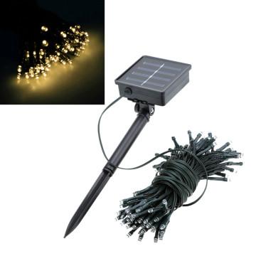 Hangulatos napelemes kerti fényfüzér 100 LED-es, melegfehér, 20m