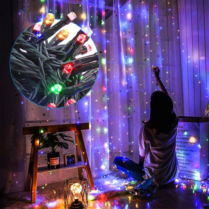 120 LED-es 15 méteres fényfüzér, színes
