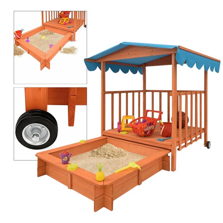 Fa játszóház homokozóval és árnyékoló tetővel - ingyenes szállítás
