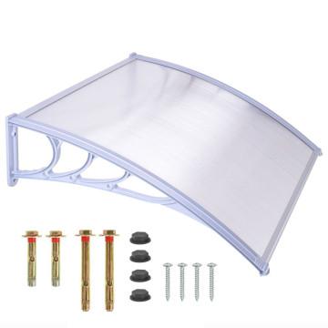 Műanyag előtető, 120 x 90 cm, transzparens, fehér színű fali tartóelemekkel