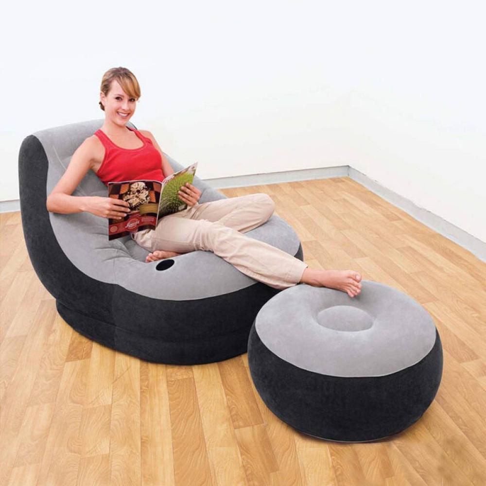 Masszív felfújható fotel lábtartóval