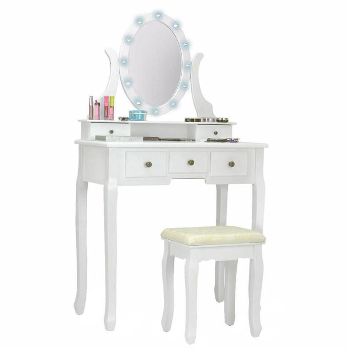 """Tükrös fésülködő asztal székkel """"Hollywood"""" - Ingyenes szállítás"""