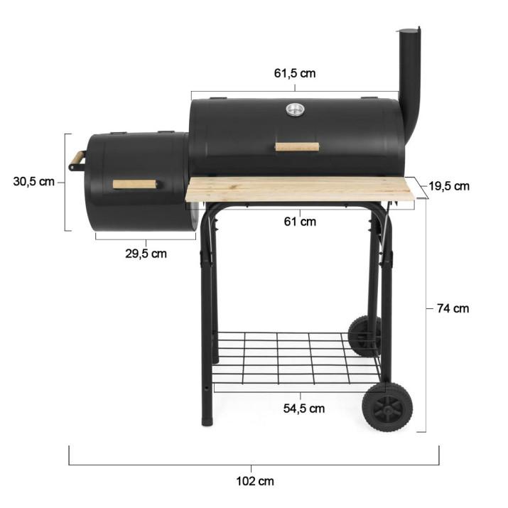 2in1 faszenes BBQ grill és smoker - ingyenes szállítás