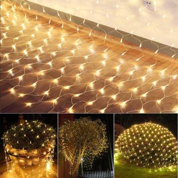 128 LED-es hálós fényfüzér, melegfehér
