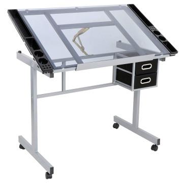 Többfunkciós tervező asztal dönthető,üveg asztall...