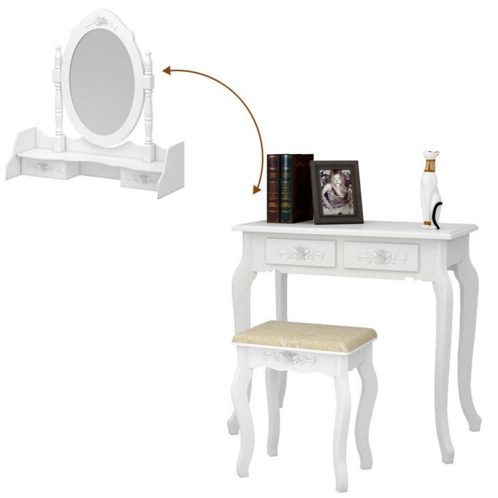 Tükrös fésülködő asztal, székkel - Ingyenes szállítás