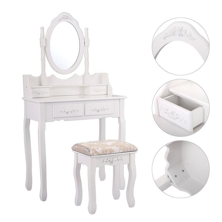 Tükrös fésülködő asztal, székkel