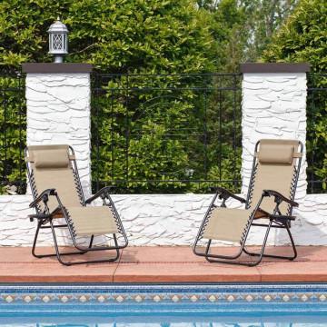 Zéró gravitáció kerti szék ajándék pohártartóval, 2 db - Bézs színben - Ingyenes szállítás