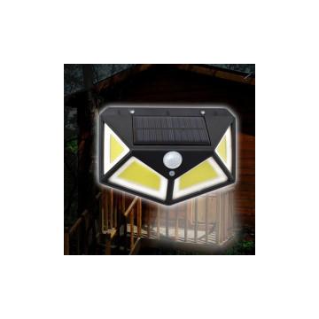 SH-100B vezeték nélküli napelemes LED fali lámpa fény-, és mozgásérzékelővel, 100 leddel
