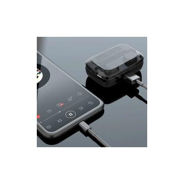 Vezeték nélküli TWS headset kijelzővel / Bluetooth fülhallgató tokba épített töltővel