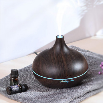 Fahatású aromaterápiás párologtató távirányítóval / ultrahangos párásító, sötét, 400 ml