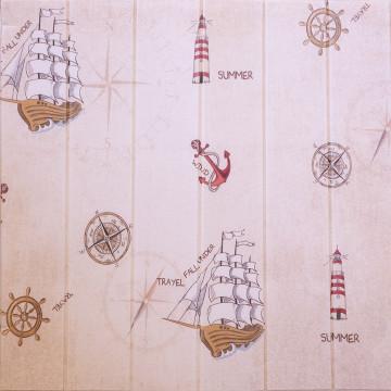 3D öntapadós faldekoráció, 68 cm x 68 cm, dombornyomott, hajó mintás (16319)