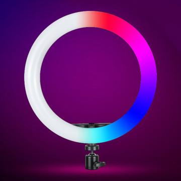 26 cm-es RGB LED körfény távirányítóval, telefontartóval
