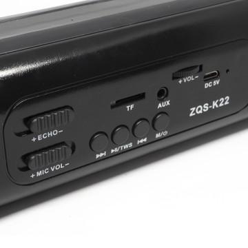K22 Bluetooth hangszóró, kihangosító, zenelejátszó és karaoke mikrofon / 2x5W - fekete