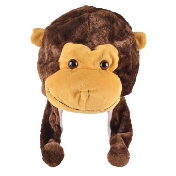 Csimpánz formájú téli sapka lelógó fülekkel / felnőtteknek és gyerekeknek