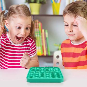 Pop It stresszoldó játék minden korosztály számára / buborékpukkantó szilikon / fejlesztő társasjáték - négyszögletes