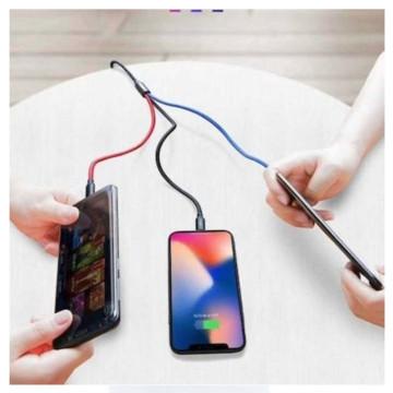 3 az 1-ben multifunkcionális strapabíró töltőkábel – 120 cm / Micro, Lighting, Type-c (V-26)