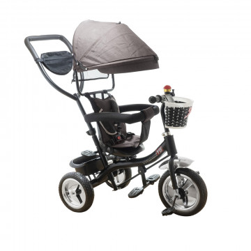 Tricikli – 360°-ban elforgatható, szülőkormánnyal / szürke