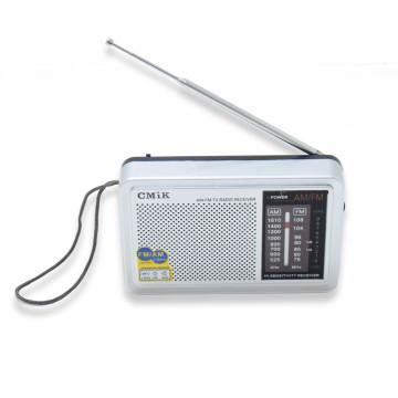 AM/FM rádió teleszkópos antennával és akasztóval– fülhallgató csatlakozással / szürke (MK-610)