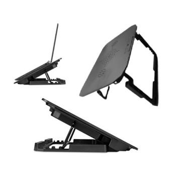 Laptop tartó állvány – hűtőpad / állítható dőlésszög / USB-ről működik