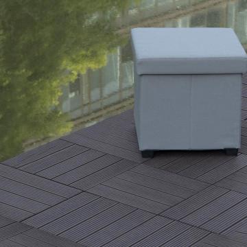 WPC teraszburkoló lap / kültéri járólap, 30x30 cm, 1 db, sötétszürke