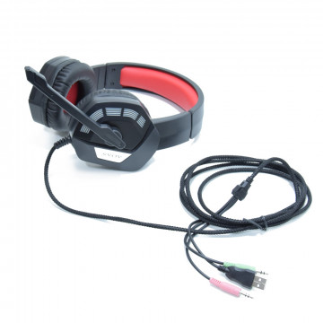 Gaming headset LED-fényekkel / vezetékes fejhallgató mikrofonnal (AS-70)