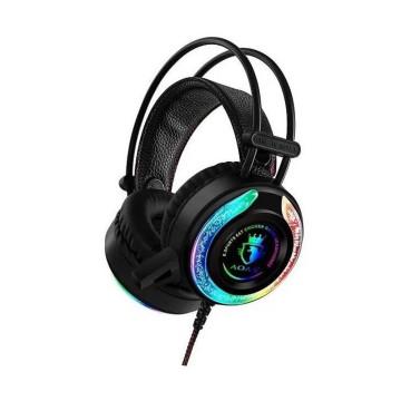 Gamer headset LED-fényekkel / vezetékes fejhallgat...