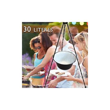 30 literes zománcozott bogrács állvánnyal