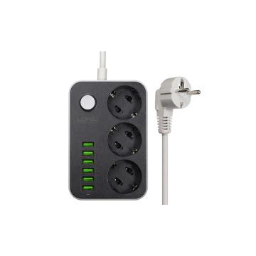 6x USB elosztó 3 db konnektor foglalattal / hosszabbító