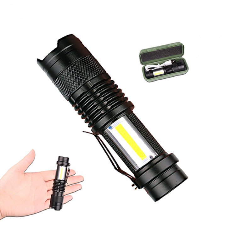 Mini Military Tech Light LED lámpa zoom funkcióval / USB-ről tölthető
