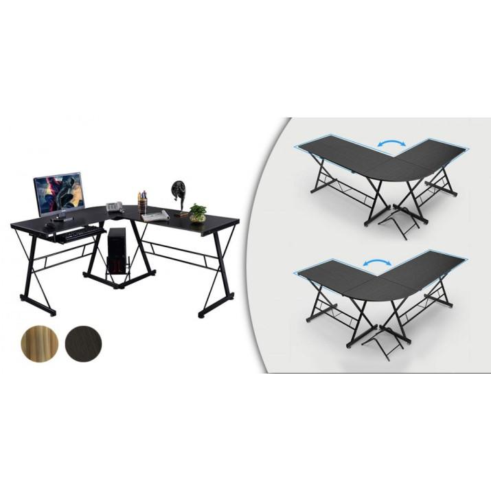 L alakú irodai asztal (fekete színben)