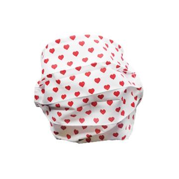 Mosható szövet maszk, felnőtt nők számára, 5 db / csomag, fehér-szivecskés