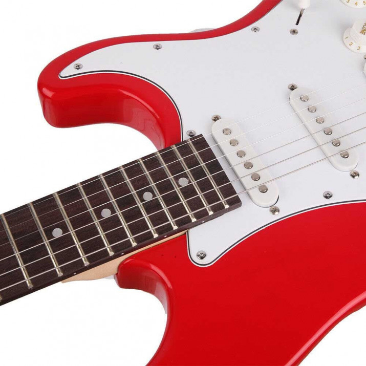 Elektronikus gitár szett kezdőknek, ajándék hangfallal, piros-fekete