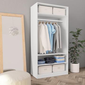 Fehér forgácslap ruhásszekrény 100 x 50 x 200 cm - utánvéttel vagy ingyenes szállítással