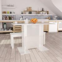 Magasfényű fehér forgácslap étkezőasztal 110 x 60 x 75 cm - utánvéttel vagy ingyenes szállítással