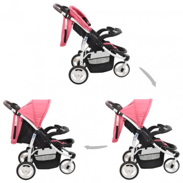 Rózsaszín-fekete háromkerekű babakocsi - ingyenes szállítás