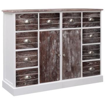 10-fiókos barna fa tálalószekrény 113 x 30 x 79 cm - utánvéttel vagy ingyenes szállítással