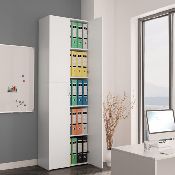 Fehér forgácslap irodai szekrény 60 x 32 x 190 cm - ingyenes szállítás