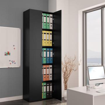 Fekete forgácslap irodai szekrény 60 x 32 x 190 cm - ingyenes szállítás