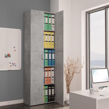 Betonszürke forgácslap irodai szekrény 60 x 32 x 190 cm - ingyenes szállítás